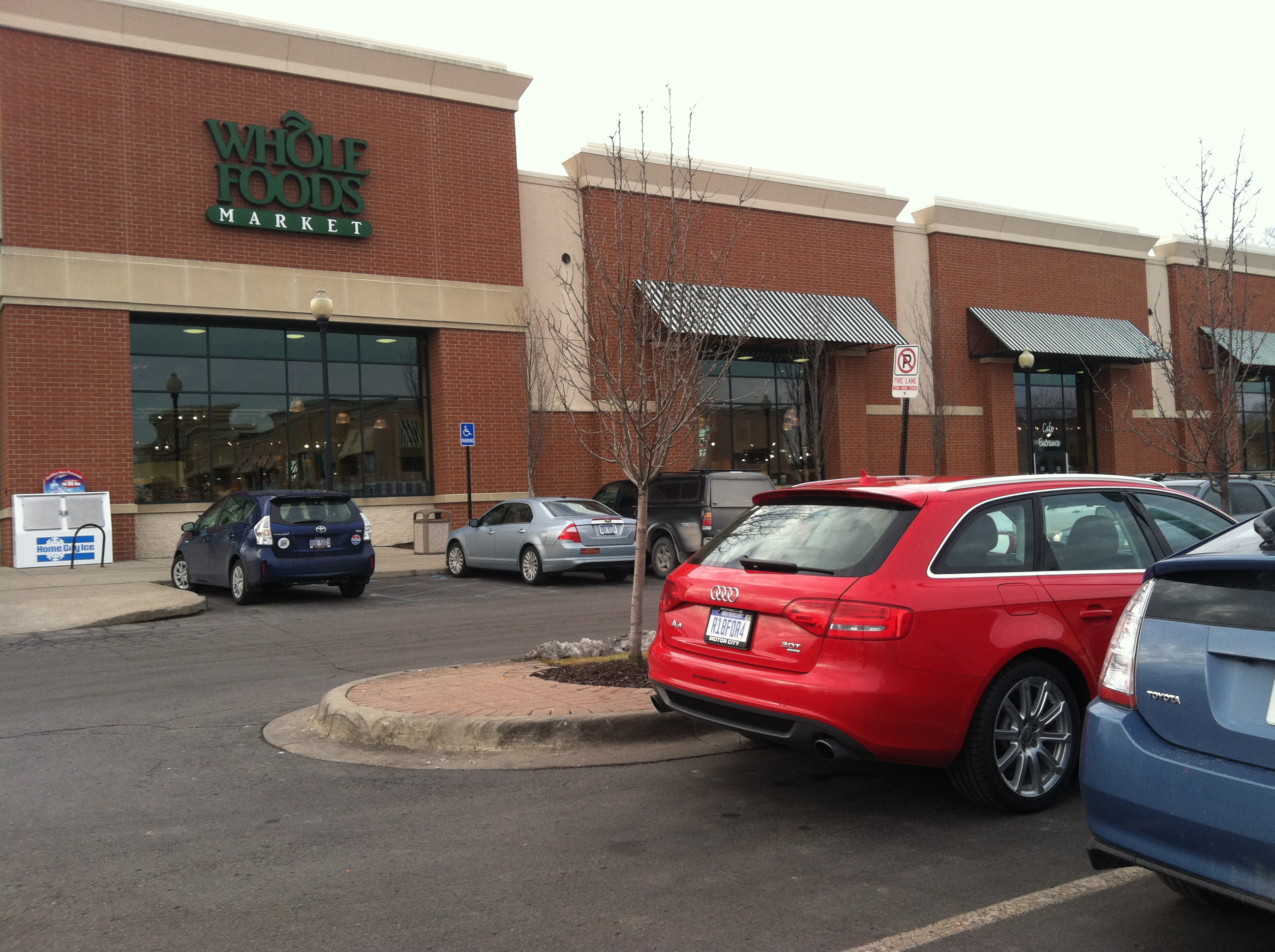 Braving the Whole Foods parking lot with my non-hybrid, non-subcompact foreign car. Say a prayer to the Saint of Dings!