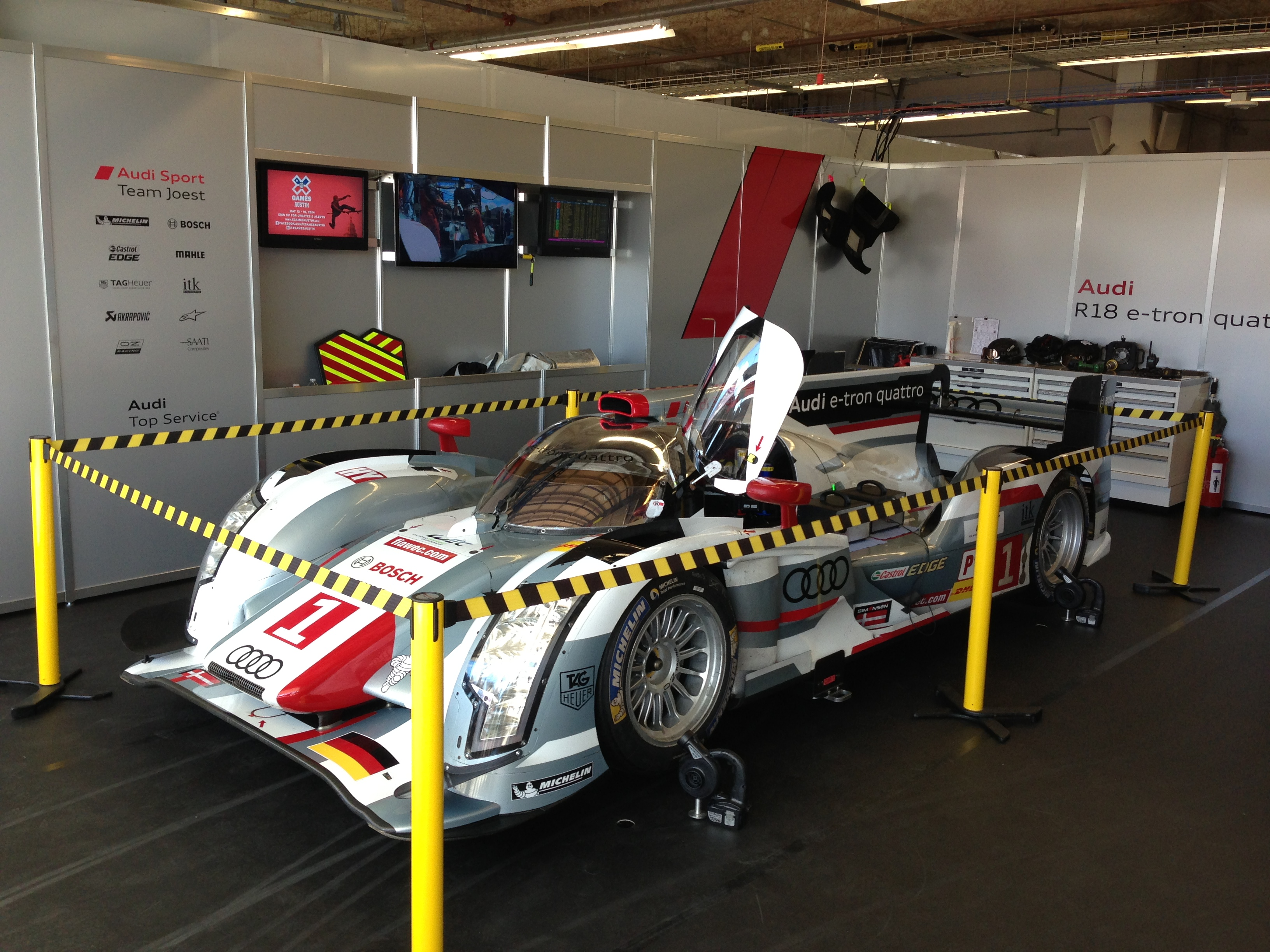 Audi's R18 on display at the COTA garages. The yellow rope is to keep ladies like myself from throwing themselves at this amazing, LeMans-winning race car.