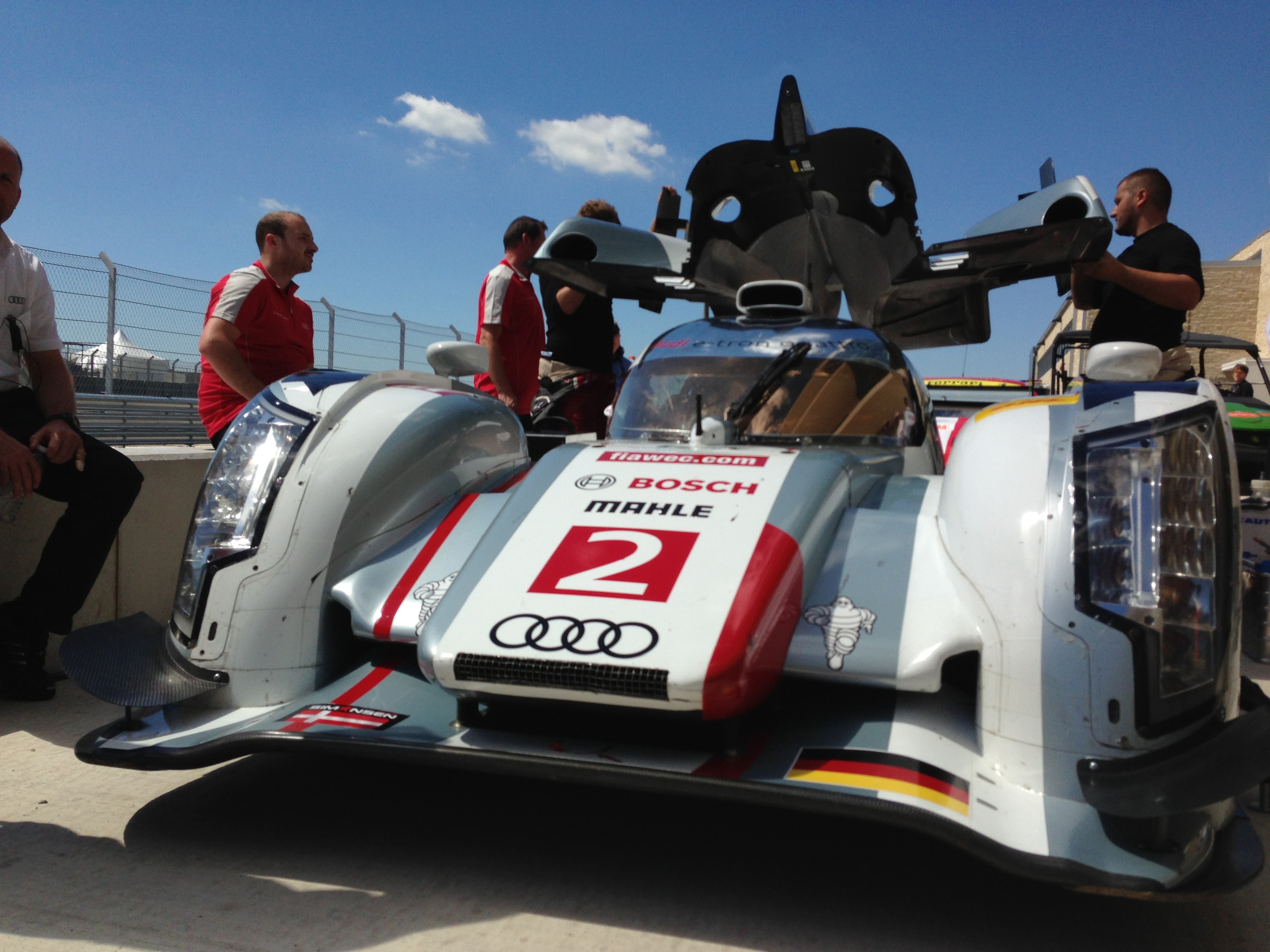 One of Audi's LMP1 entries, the R18 e-tron quattro, in pit lane