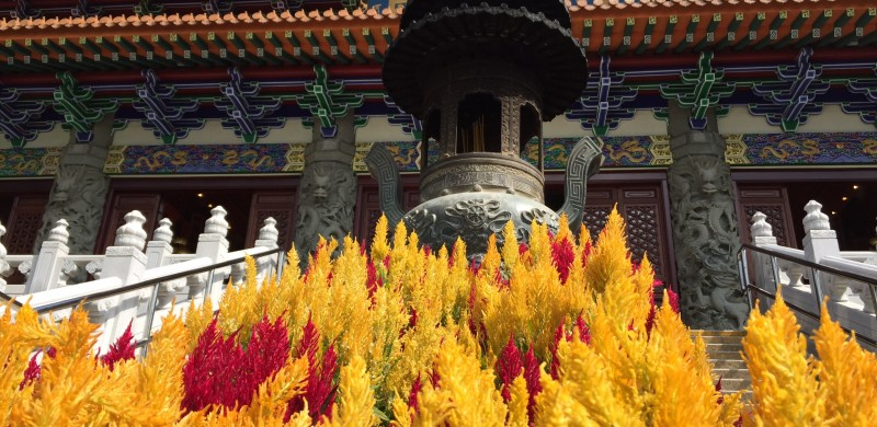 What we do when we're not practicing yoga: visit magical places like the Po Lin Monastery outside of Hong Kong.