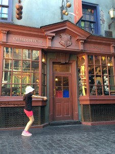 Quiddich Pose in Diagon Alley.