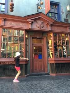 Quiddich Pose in Diagon Alley.